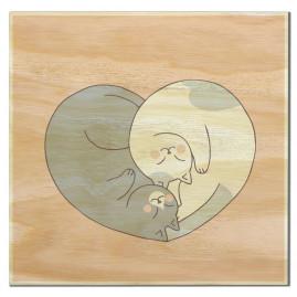 Imã de madeira coração gatos