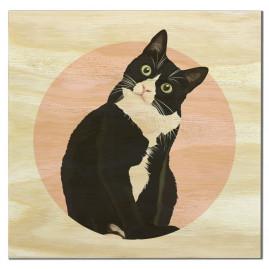 Imã de madeira gato preto