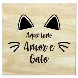 Imã de madeira amor e gato