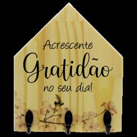 Porta-chaves de madeira gratidão